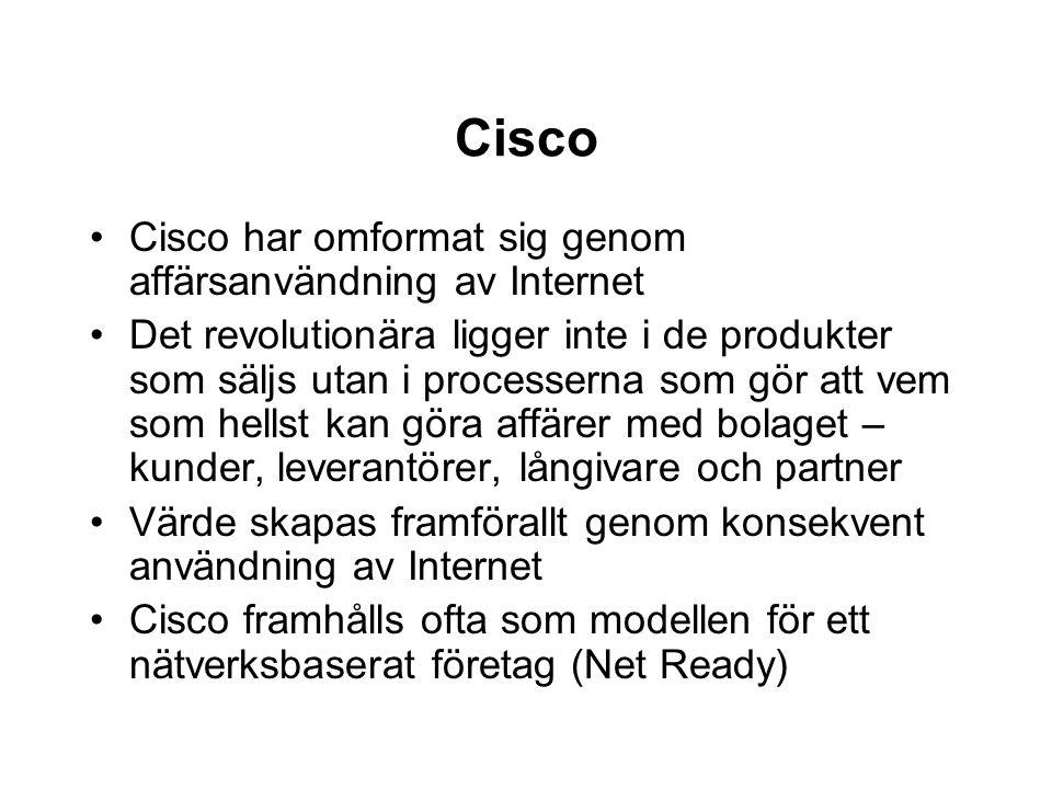 Cisco Cisco har omformat sig genom affärsanvändning av Internet Det revolutionära ligger inte i de produkter som säljs utan i processerna som gör att