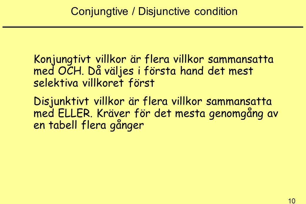 10 Conjungtive / Disjunctive condition Konjungtivt villkor är flera villkor sammansatta med OCH.