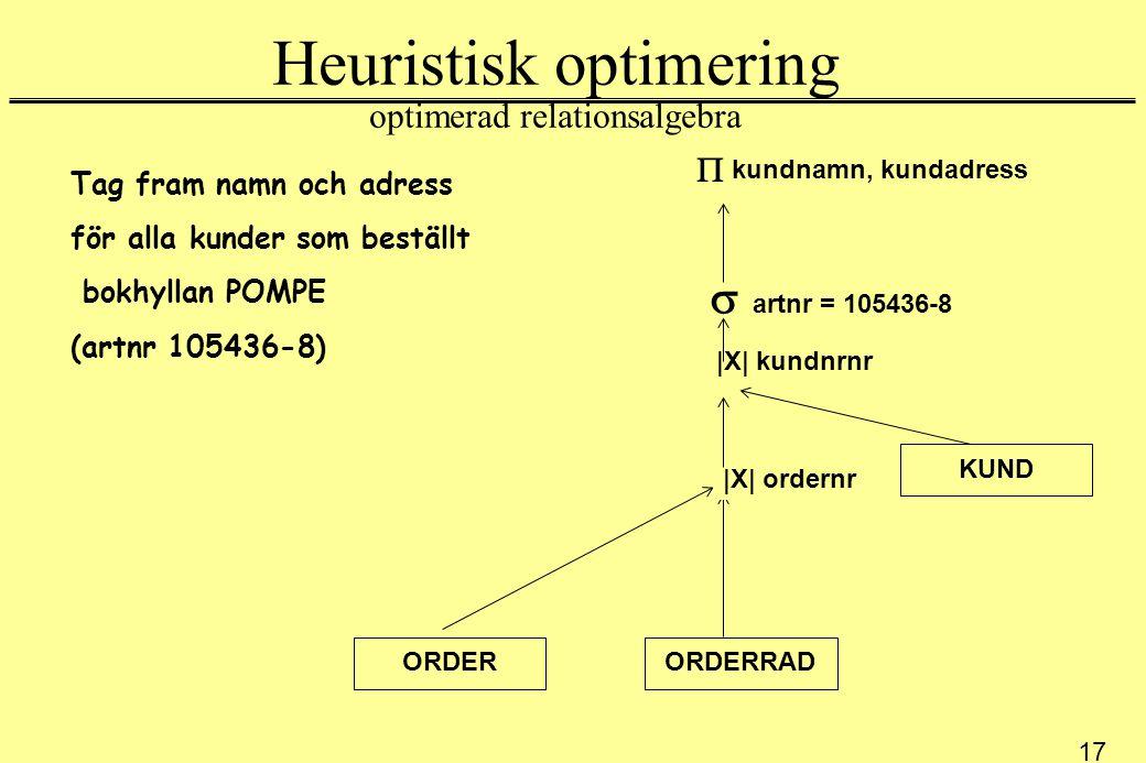 17 Heuristisk optimering optimerad relationsalgebra Tag fram namn och adress för alla kunder som beställt bokhyllan POMPE (artnr 105436-8) kundnamn, kundadress ORDERRAD KUND  |X| ordernr  |X| kundnrnr  artnr = 105436-8 ORDER