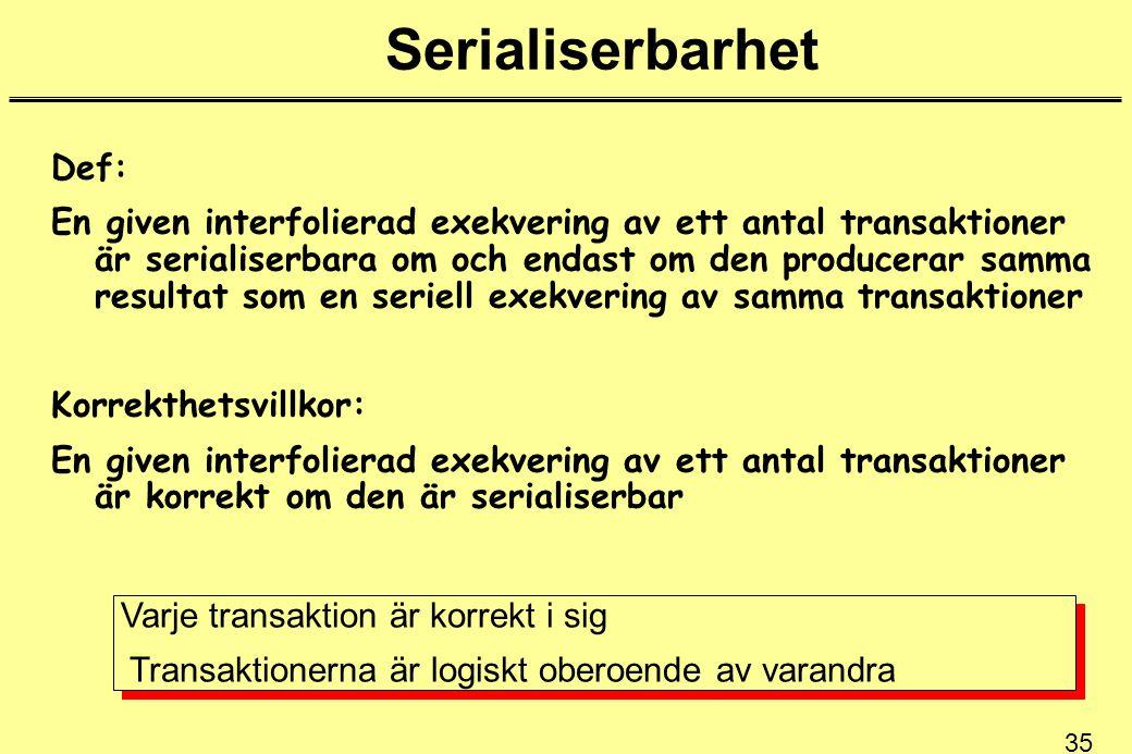 35 Serialiserbarhet Def: En given interfolierad exekvering av ett antal transaktioner är serialiserbara om och endast om den producerar samma resultat som en seriell exekvering av samma transaktioner Korrekthetsvillkor: En given interfolierad exekvering av ett antal transaktioner är korrekt om den är serialiserbar Varje transaktion är korrekt i sig Transaktionerna är logiskt oberoende av varandra Varje transaktion är korrekt i sig Transaktionerna är logiskt oberoende av varandra