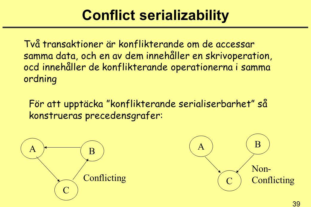 39 Conflict serializability Två transaktioner är konflikterande om de accessar samma data, och en av dem innehåller en skrivoperation, ocd innehåller de konflikterande operationerna i samma ordning För att upptäcka konflikterande serialiserbarhet så konstrueras precedensgrafer: A C B C B A Conflicting Non- Conflicting