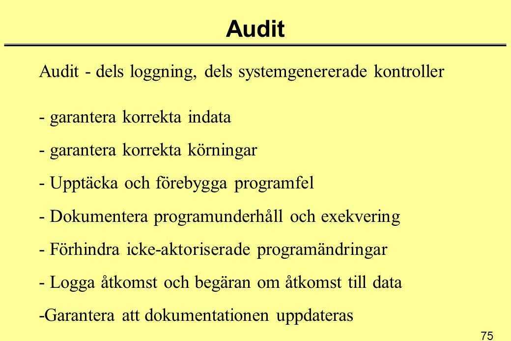 75 Audit Audit - dels loggning, dels systemgenererade kontroller - garantera korrekta indata - garantera korrekta körningar - Upptäcka och förebygga programfel - Dokumentera programunderhåll och exekvering - Förhindra icke-aktoriserade programändringar - Logga åtkomst och begäran om åtkomst till data -Garantera att dokumentationen uppdateras