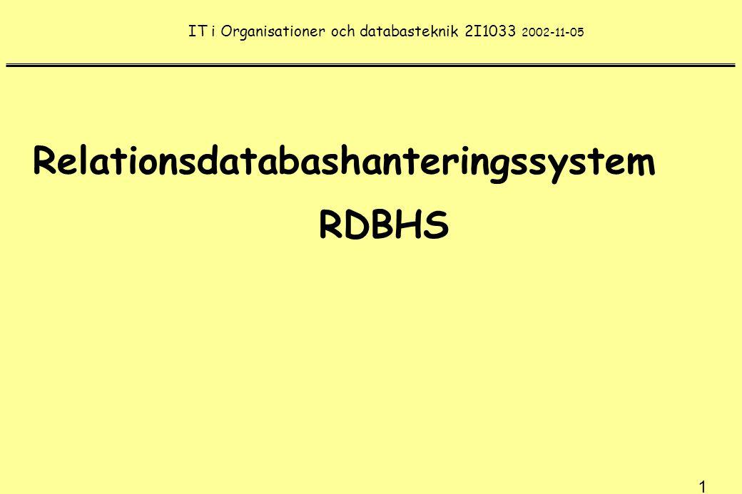 22 Databastransaktion - Logical Unit of Work Före transaktionens start är databasen i consistent state Under transaktionen är databasen i inconsistent state Transaktionen kan avslutas på två sätt: COMMIT eller ABORT COMMIT för databasen till ett nytt konsistent läge ABORT återställer databasen till läget före BEGIN TRANSACTION