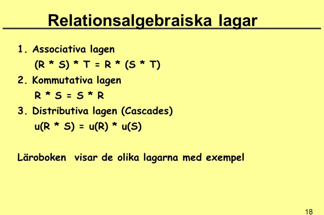 18 Relationsalgebraiska lagar 1. Associativa lagen (R * S) * T = R * (S * T) 2. Kommutativa lagen R * S = S * R 3. Distributiva lagen (Cascades) u(R *