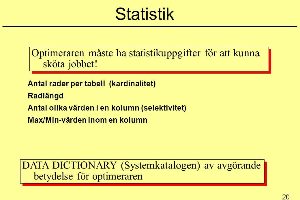 20 Statistik Optimeraren måste ha statistikuppgifter för att kunna sköta jobbet! Antal rader per tabell (kardinalitet) Radlängd Antal olika värden i e
