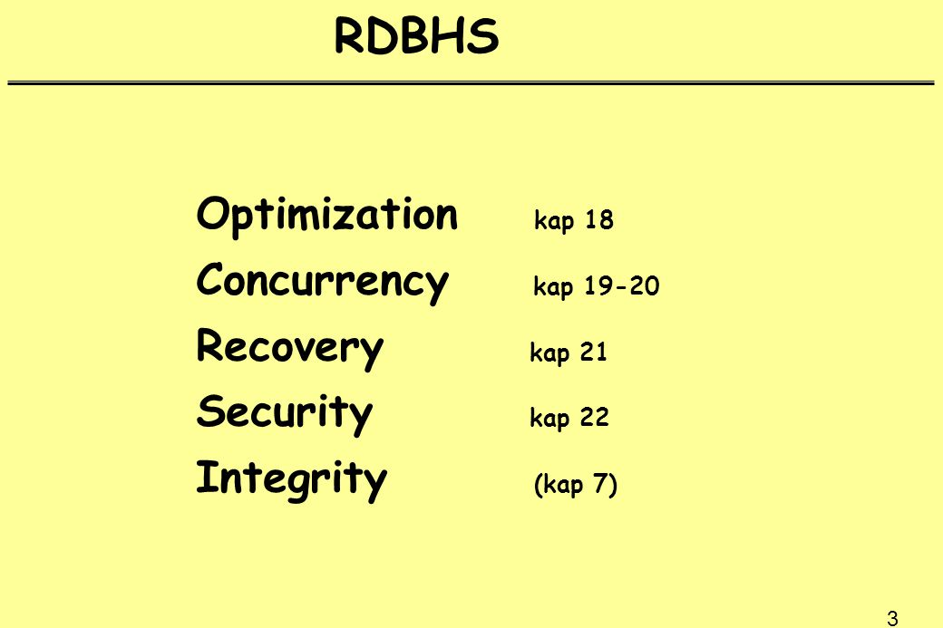 44 Logg Back-up Databas Before After Logg 1 2 3 4 5 1 och 2 före bearbetning 3 - 5 efter bearbetning Loggar användes vid rcovery (återskapande) av databasen (UNDO) (REDO)