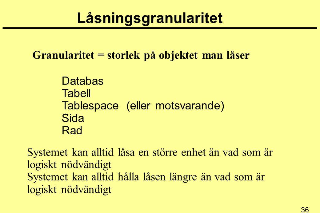 36 Låsningsgranularitet Granularitet = storlek på objektet man låser Databas Tabell Tablespace (eller motsvarande) Sida Rad Systemet kan alltid låsa e