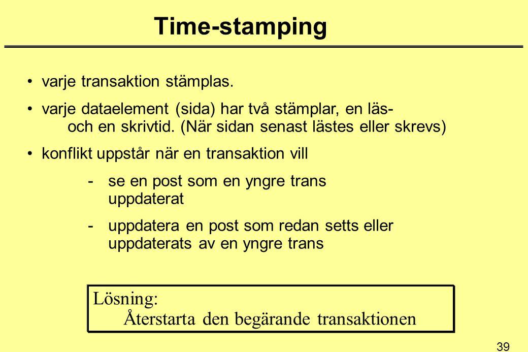39 Time-stamping varje transaktion stämplas. varje dataelement (sida) har två stämplar, en läs- och en skrivtid. (När sidan senast lästes eller skrevs