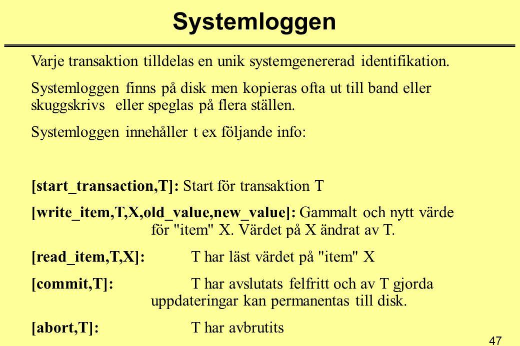 47 Systemloggen Varje transaktion tilldelas en unik systemgenererad identifikation. Systemloggen finns på disk men kopieras ofta ut till band eller sk