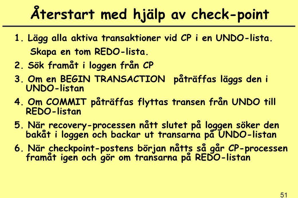 51 Återstart med hjälp av check-point 1. Lägg alla aktiva transaktioner vid CP i en UNDO-lista. Skapa en tom REDO-lista. 2. Sök framåt i loggen från C