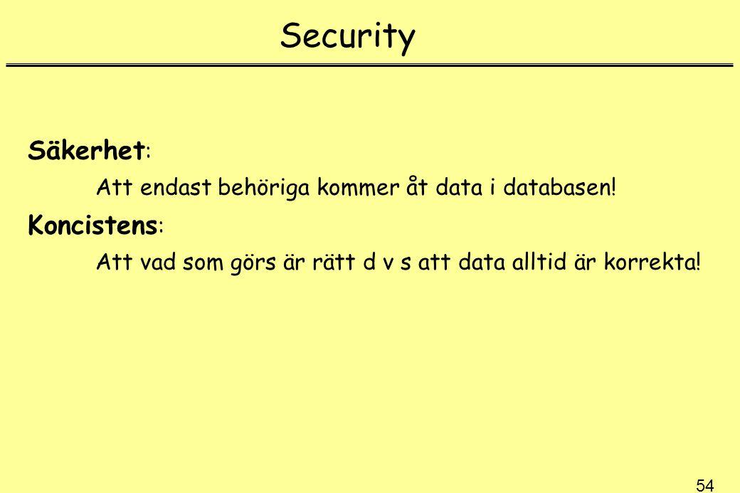 54 Security Säkerhet : Att endast behöriga kommer åt data i databasen! Koncistens : Att vad som görs är rätt d v s att data alltid är korrekta!