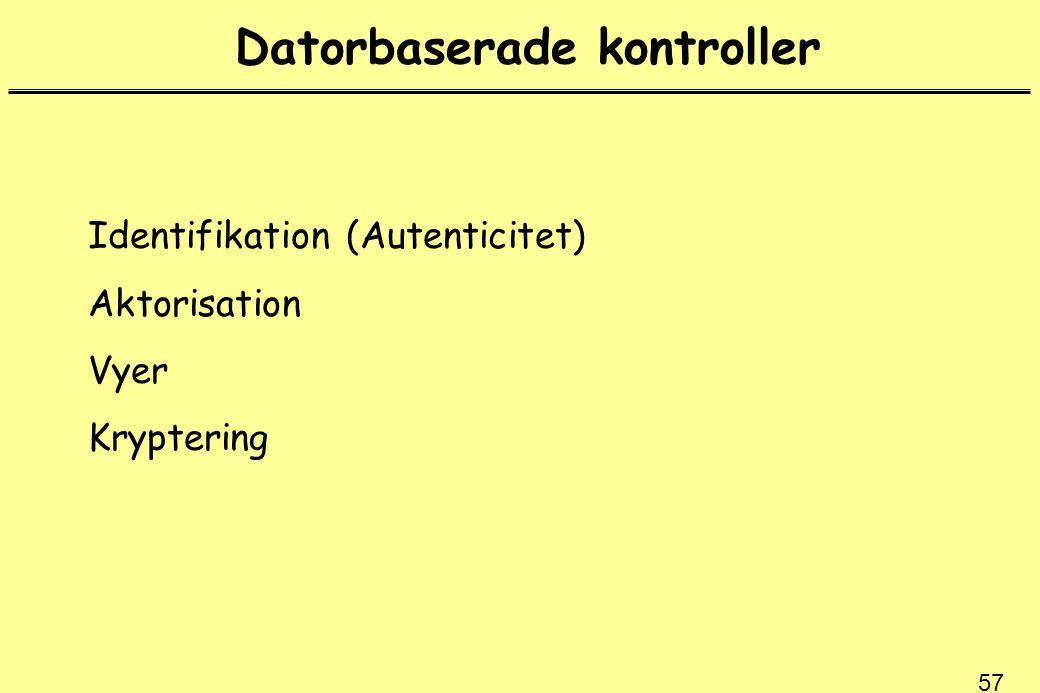 57 Datorbaserade kontroller Identifikation (Autenticitet) Aktorisation Vyer Kryptering