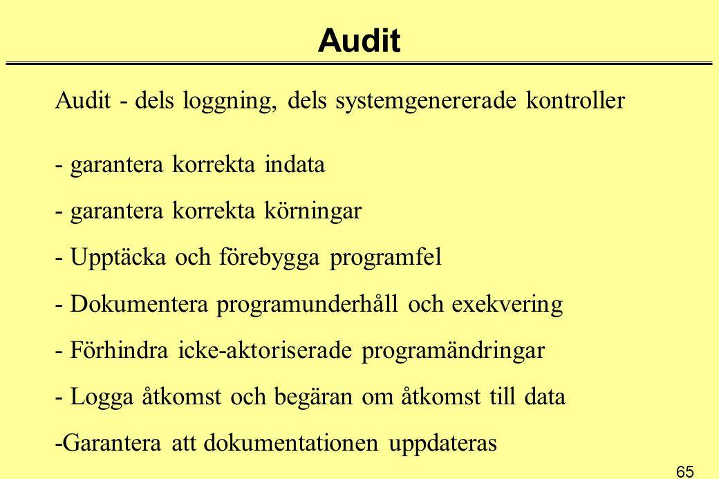 65 Audit Audit - dels loggning, dels systemgenererade kontroller - garantera korrekta indata - garantera korrekta körningar - Upptäcka och förebygga p
