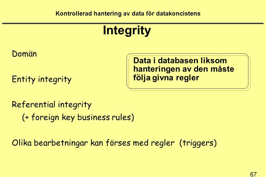 67 Kontrollerad hantering av data för datakoncistens Integrity Domän Entity integrity Referential integrity (+ foreign key business rules) Olika bearb