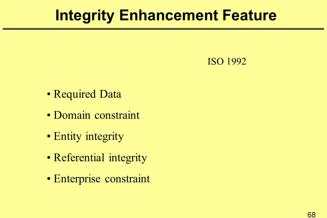 68 Integrity Enhancement Feature ISO 1992 Required Data Domain constraint Entity integrity Referential integrity Enterprise constraint