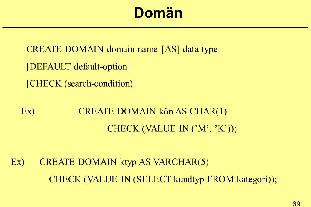 69 Domän CREATE DOMAIN domain-name [AS] data-type [DEFAULT default-option] [CHECK (search-condition)] Ex)CREATE DOMAIN kön AS CHAR(1) CHECK (VALUE IN