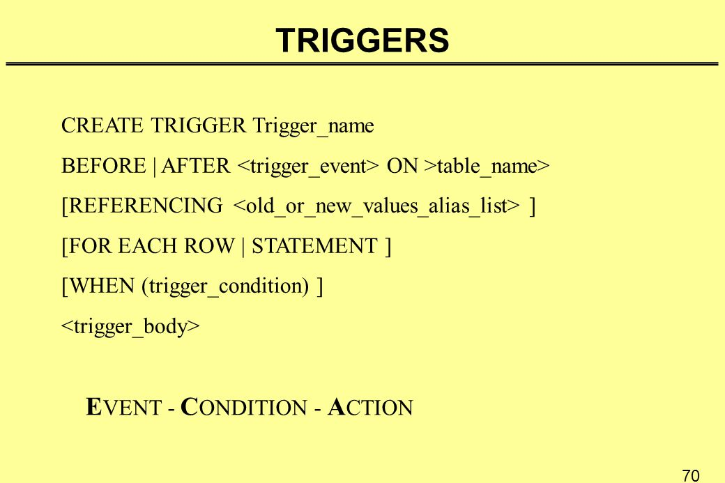 70 TRIGGERS CREATE TRIGGER Trigger_name BEFORE | AFTER ON >table_name> [REFERENCING ] [FOR EACH ROW | STATEMENT ] [WHEN (trigger_condition) ] E VENT -