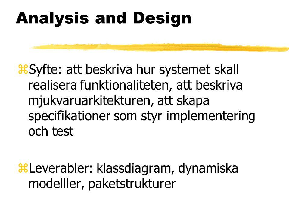 Analysis and Design zSyfte: att beskriva hur systemet skall realisera funktionaliteten, att beskriva mjukvaruarkitekturen, att skapa specifikationer som styr implementering och test zLeverabler: klassdiagram, dynamiska modelller, paketstrukturer