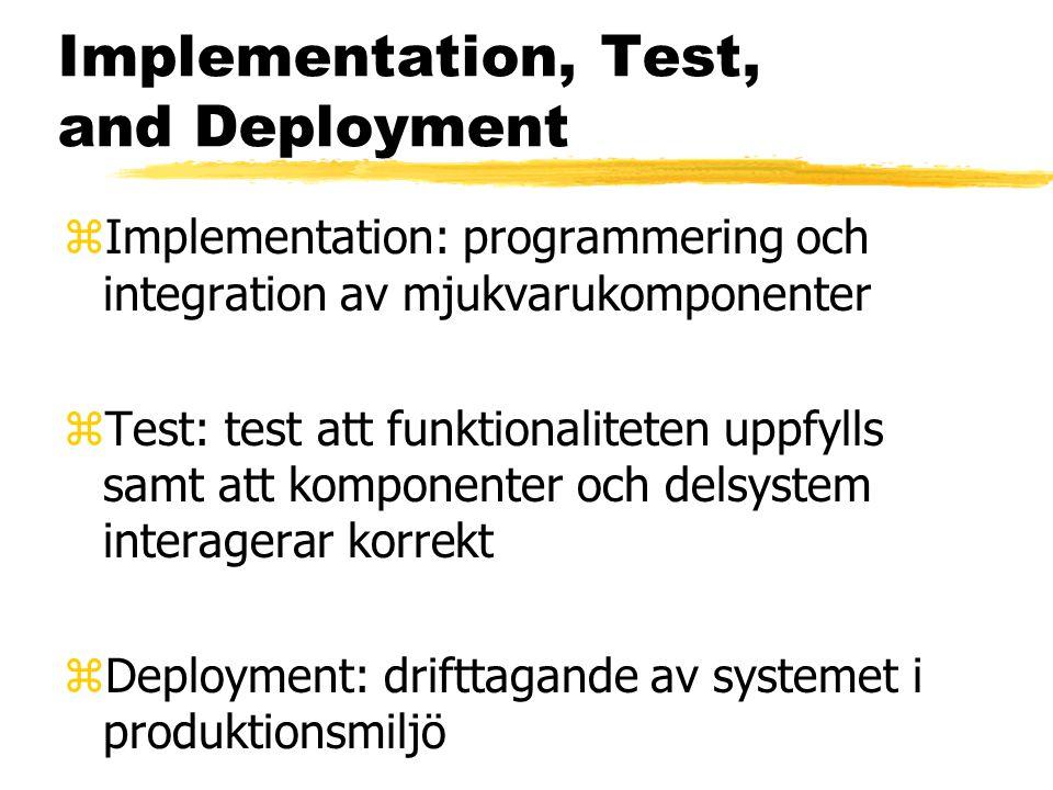 Implementation, Test, and Deployment zImplementation: programmering och integration av mjukvarukomponenter zTest: test att funktionaliteten uppfylls samt att komponenter och delsystem interagerar korrekt zDeployment: drifttagande av systemet i produktionsmiljö