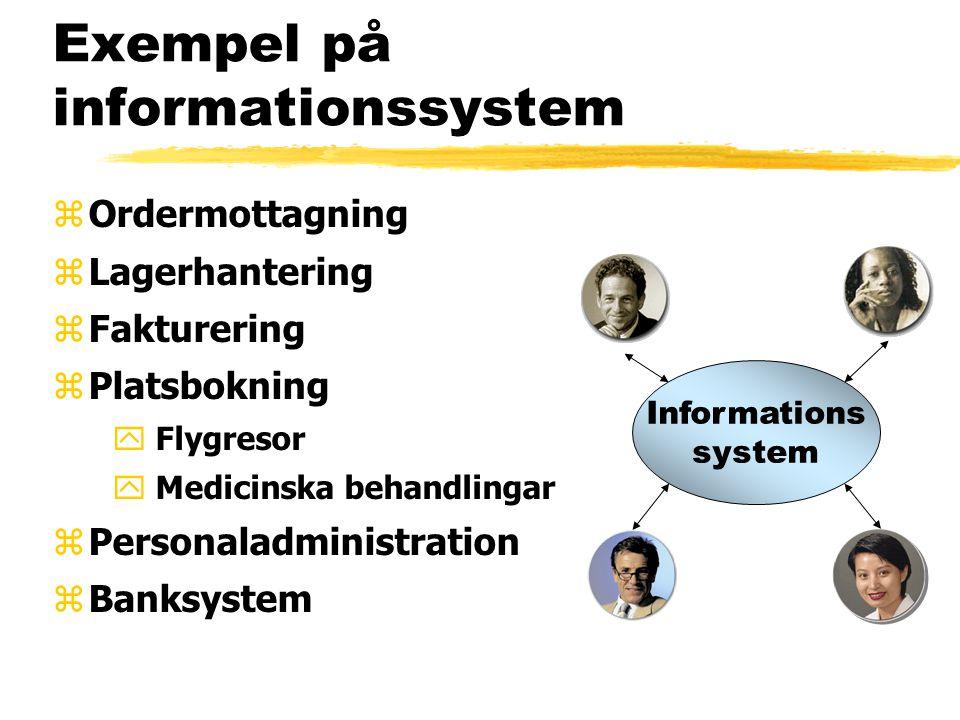 Exempel på informationssystem zOrdermottagning zLagerhantering zFakturering zPlatsbokning y Flygresor y Medicinska behandlingar zPersonaladministration zBanksystem Informations system