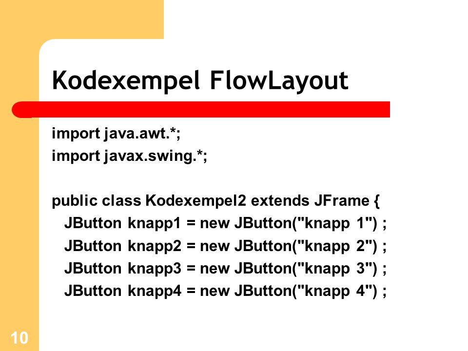 10 Kodexempel FlowLayout import java.awt.*; import javax.swing.*; public class Kodexempel2 extends JFrame { JButton knapp1 = new JButton( knapp 1 ) ; JButton knapp2 = new JButton( knapp 2 ) ; JButton knapp3 = new JButton( knapp 3 ) ; JButton knapp4 = new JButton( knapp 4 ) ;