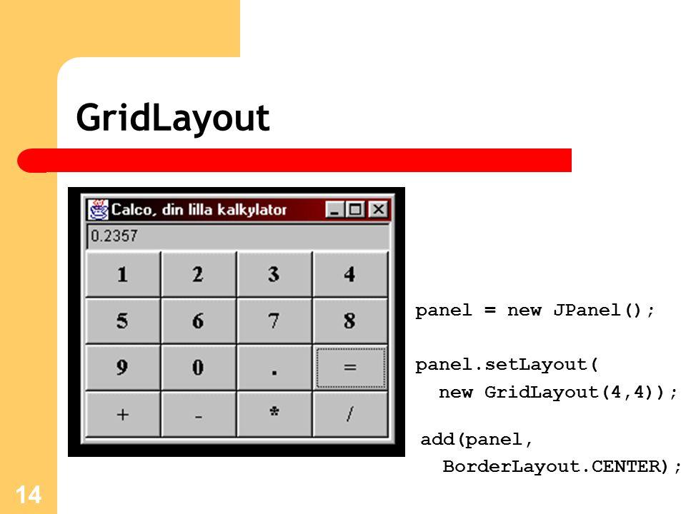 14 GridLayout panel = new JPanel(); panel.setLayout( new GridLayout(4,4)); add(panel, BorderLayout.CENTER);