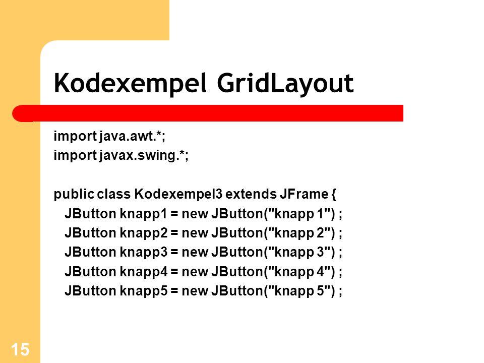 15 Kodexempel GridLayout import java.awt.*; import javax.swing.*; public class Kodexempel3 extends JFrame { JButton knapp1 = new JButton( knapp 1 ) ; JButton knapp2 = new JButton( knapp 2 ) ; JButton knapp3 = new JButton( knapp 3 ) ; JButton knapp4 = new JButton( knapp 4 ) ; JButton knapp5 = new JButton( knapp 5 ) ;