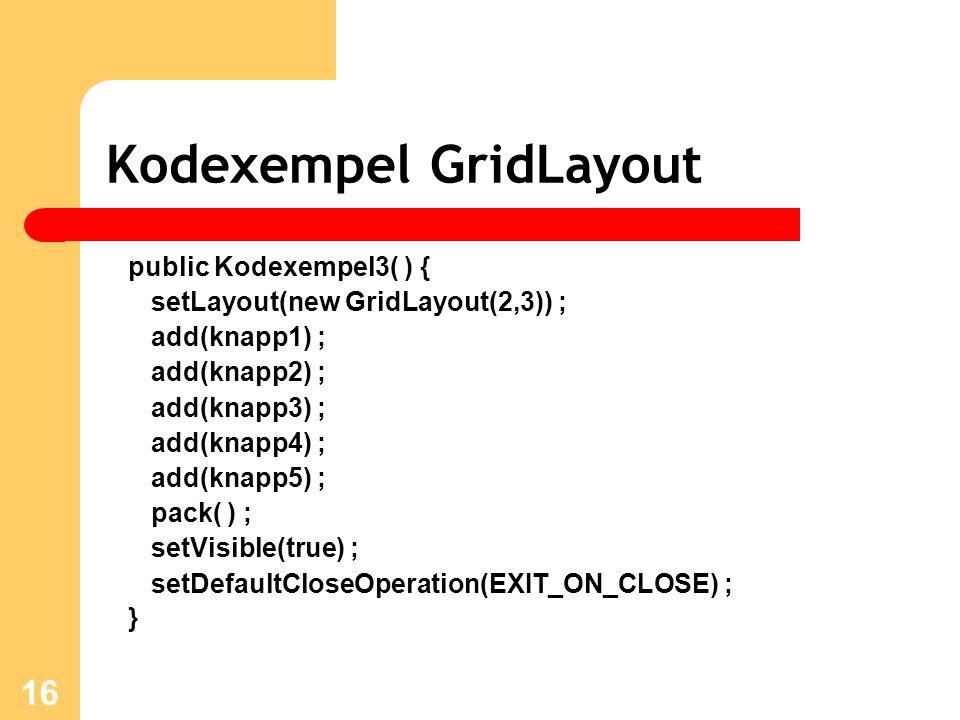 16 Kodexempel GridLayout public Kodexempel3( ) { setLayout(new GridLayout(2,3)) ; add(knapp1) ; add(knapp2) ; add(knapp3) ; add(knapp4) ; add(knapp5) ; pack( ) ; setVisible(true) ; setDefaultCloseOperation(EXIT_ON_CLOSE) ; }