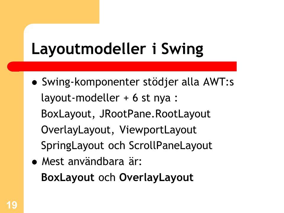 19 Layoutmodeller i Swing Swing-komponenter stödjer alla AWT:s layout-modeller + 6 st nya : BoxLayout, JRootPane.RootLayout OverlayLayout, ViewportLayout SpringLayout och ScrollPaneLayout Mest användbara är: BoxLayout och OverlayLayout