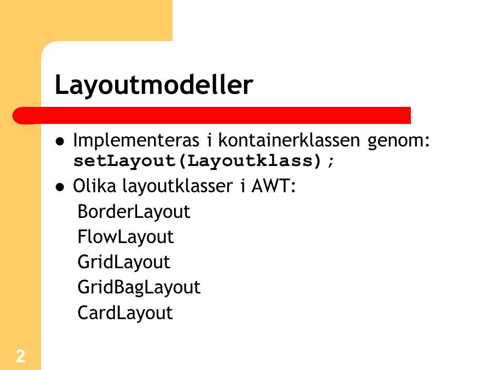 2 Layoutmodeller Implementeras i kontainerklassen genom: setLayout(Layoutklass); Olika layoutklasser i AWT: BorderLayout FlowLayout GridLayout GridBagLayout CardLayout