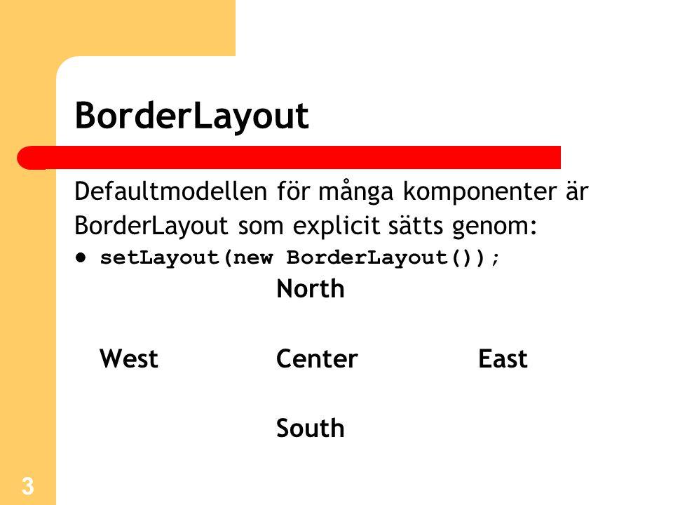 3 BorderLayout Defaultmodellen för många komponenter är BorderLayout som explicit sätts genom: setLayout(new BorderLayout()); North WestCenterEast South
