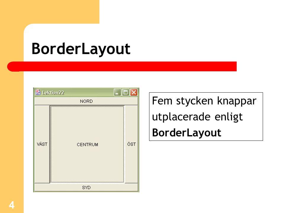 4 BorderLayout Fem stycken knappar utplacerade enligt BorderLayout