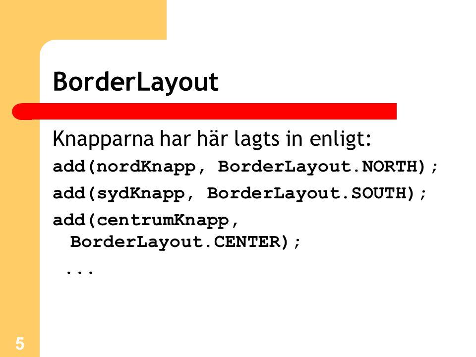 5 Knapparna har här lagts in enligt: add(nordKnapp, BorderLayout.NORTH); add(sydKnapp, BorderLayout.SOUTH); add(centrumKnapp, BorderLayout.CENTER);...