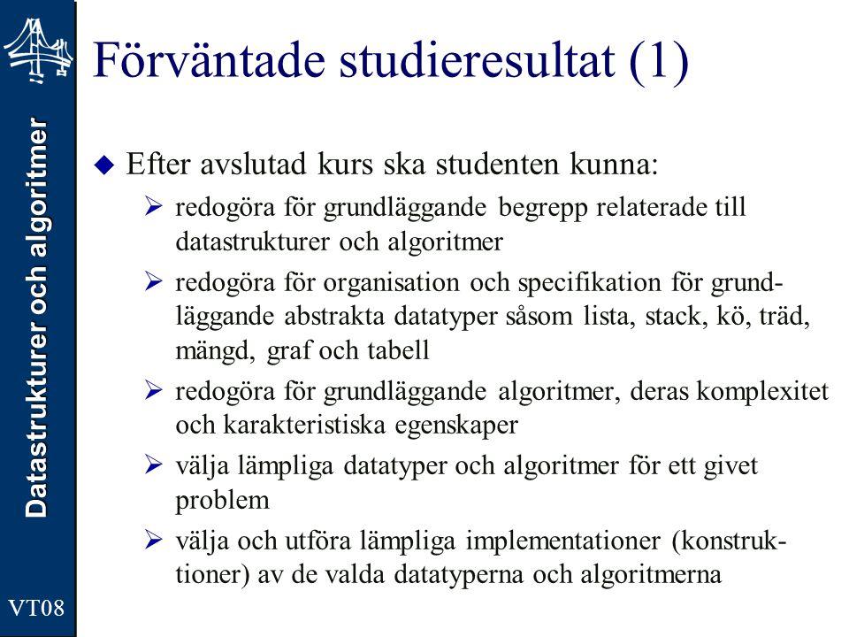 Datastrukturer och algoritmer VT08 Förväntade studieresultat (1)  Efter avslutad kurs ska studenten kunna:  redogöra för grundläggande begrepp relat