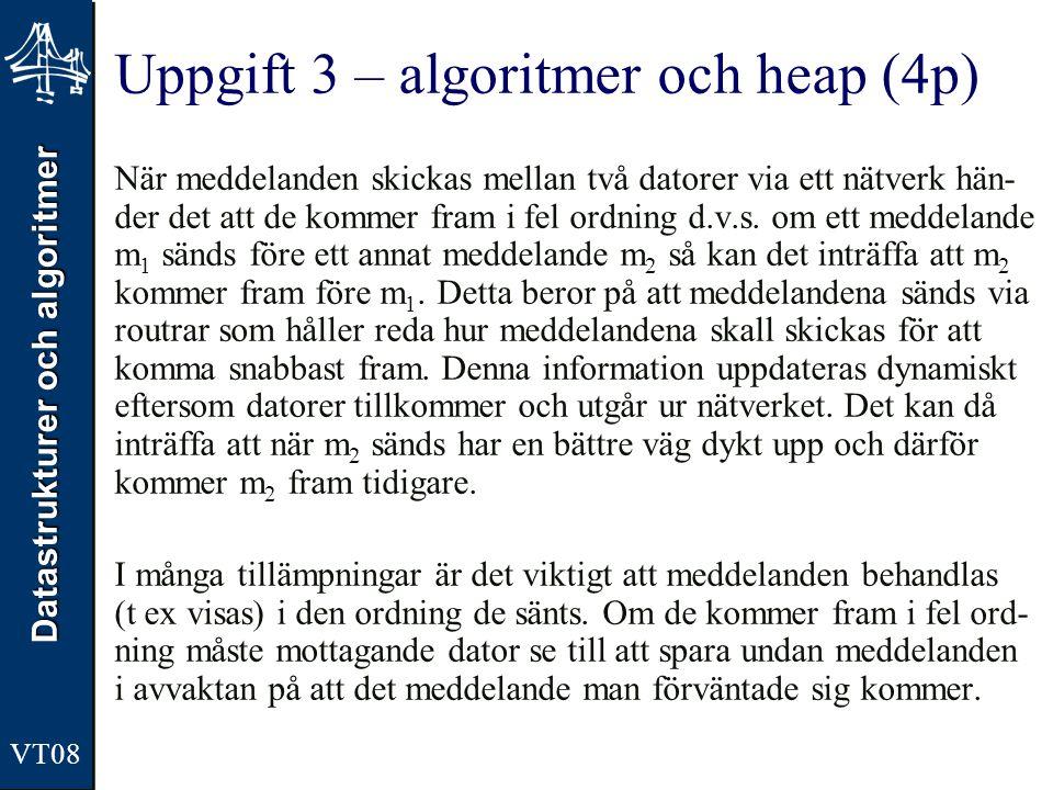 Datastrukturer och algoritmer VT08 Uppgift 3 – algoritmer och heap (4p) När meddelanden skickas mellan två datorer via ett nätverk hän- der det att de