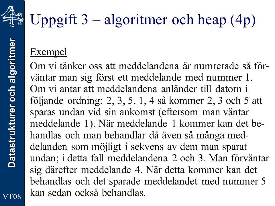 Datastrukturer och algoritmer VT08 Uppgift 3 – algoritmer och heap (4p) Exempel Om vi tänker oss att meddelandena är numrerade så för- väntar man sig