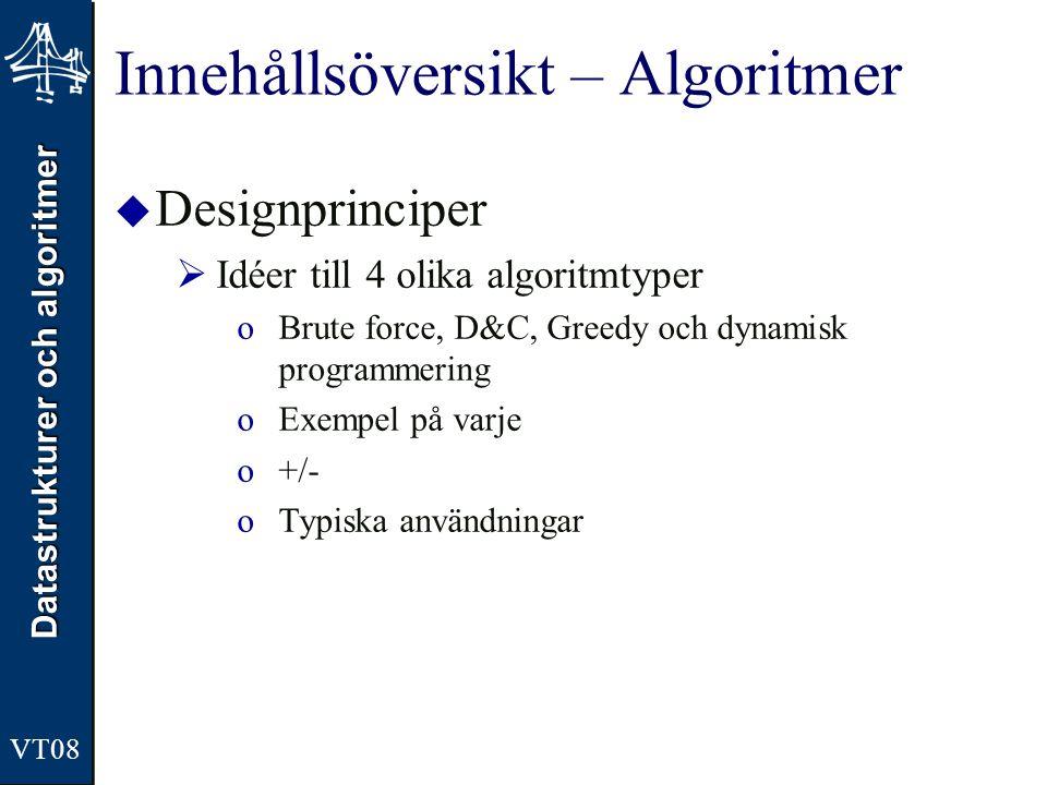 Datastrukturer och algoritmer VT08 Innehållsöversikt – Abstrakta Datatyper (ADT)  Stack, Kö, Listor, Träd, Graf, Prioritetskö, Heap, Tabell, Sträng, Mängd, Sökträd, Tries, mm  Beskrivningssätt  Organisation, Modell, Gränsytan (formell, informell)  Grundbegrepp  Vad är en organisation, sorterad ADT, mm  Primär vs.