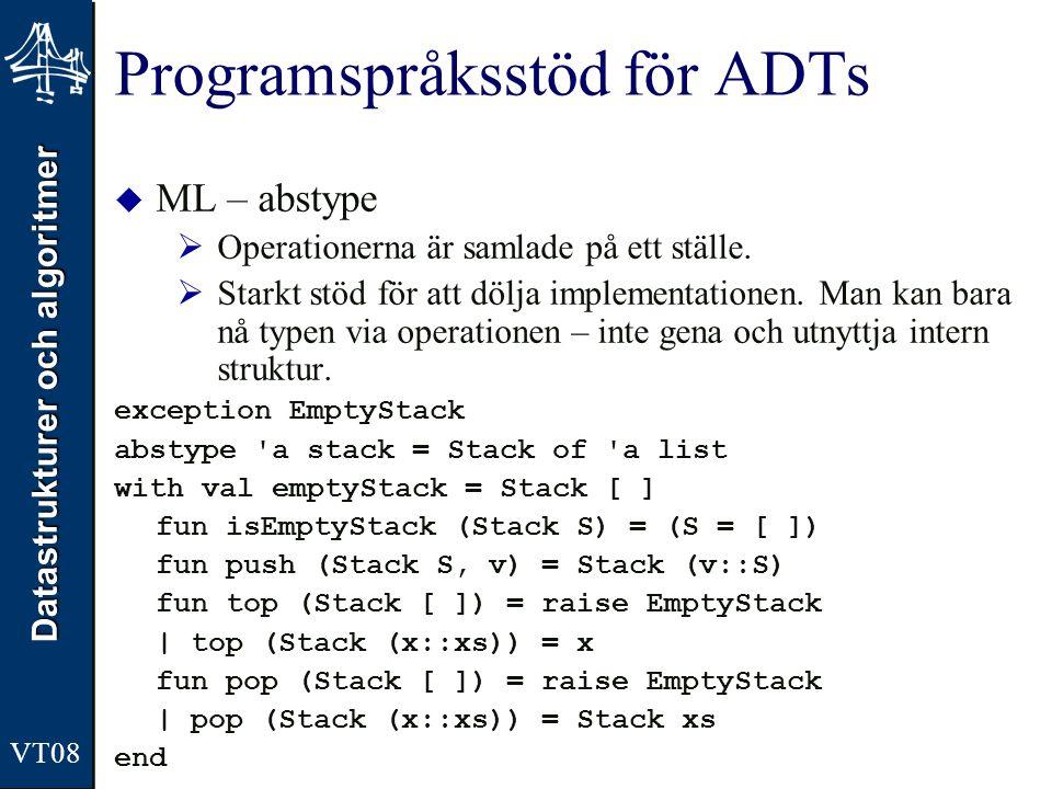 Datastrukturer och algoritmer VT08 Programspråksstöd för ADTs  ML – abstype  Operationerna är samlade på ett ställe.