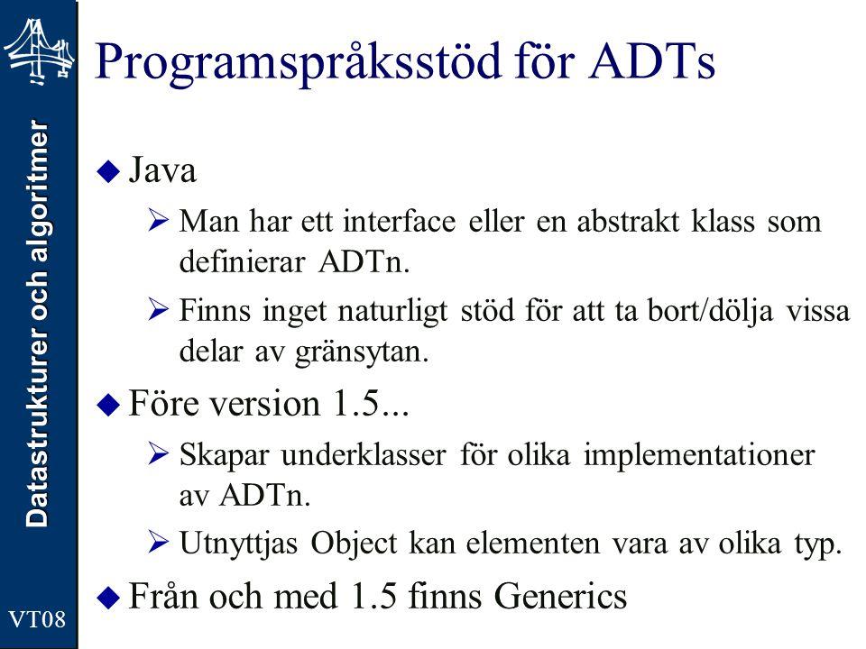 Datastrukturer och algoritmer VT08 Programspråksstöd för ADTs  Java  Man har ett interface eller en abstrakt klass som definierar ADTn.
