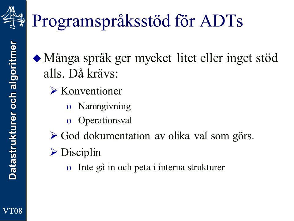 Datastrukturer och algoritmer VT08 Programspråksstöd för ADTs  Många språk ger mycket litet eller inget stöd alls.