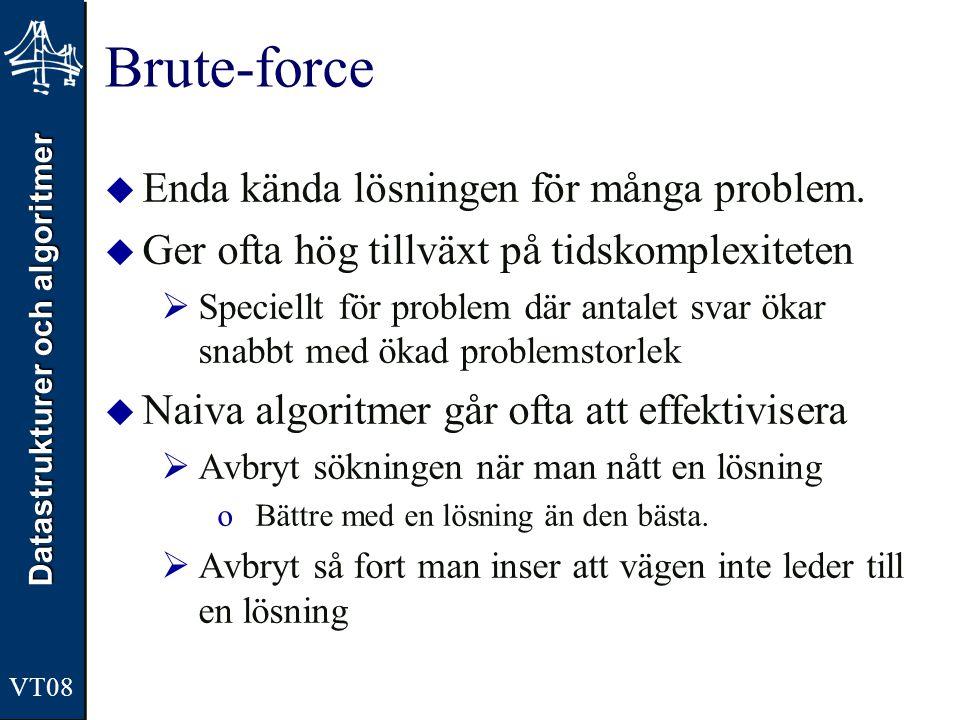 Datastrukturer och algoritmer VT08 Brute-force  Enda kända lösningen för många problem.