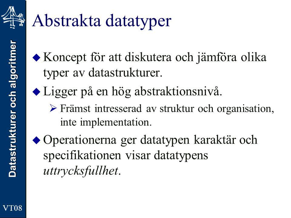 Datastrukturer och algoritmer VT08 Abstrakta datatyper  Koncept för att diskutera och jämföra olika typer av datastrukturer.