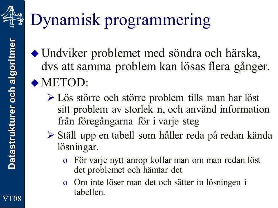 Datastrukturer och algoritmer VT08 Dynamisk programmering  Undviker problemet med söndra och härska, dvs att samma problem kan lösas flera gånger.