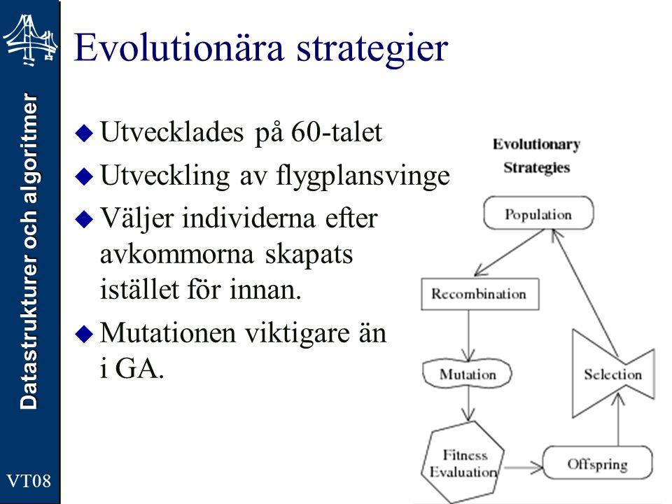 Datastrukturer och algoritmer VT08 Evolutionära strategier  Utvecklades på 60-talet  Utveckling av flygplansvinge  Väljer individerna efter avkommorna skapats istället för innan.
