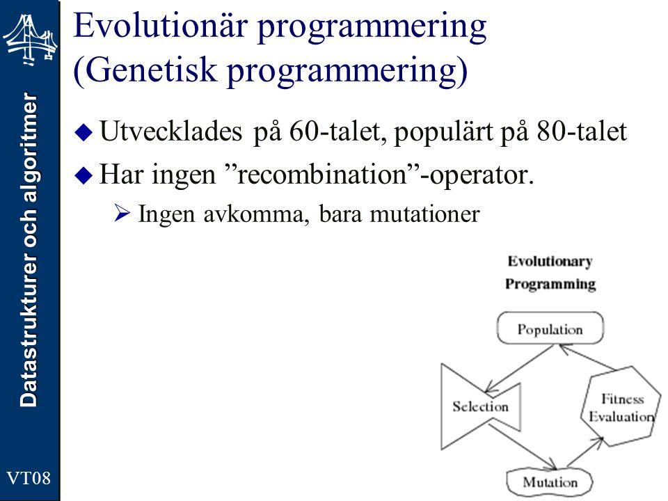Datastrukturer och algoritmer VT08 Evolutionär programmering (Genetisk programmering)  Utvecklades på 60-talet, populärt på 80-talet  Har ingen recombination -operator.