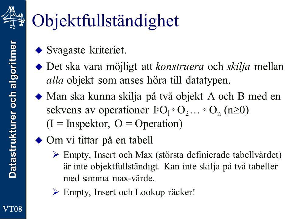 Datastrukturer och algoritmer VT08 Generisk Stack i Java public void push(E obj){ if ((top+1) < CAPACITY){ top = top + 1; stack[top] = obj; } public E top(){ return stack[top]; } public E pop(){ E elem; elem = stack[top]; stack[top] = null; top = top - 1; return elem; }