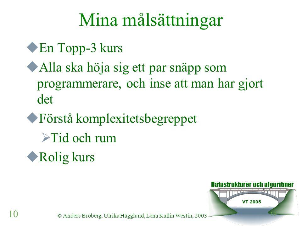 Datastrukturer och algoritmer VT 2005 10 © Anders Broberg, Ulrika Hägglund, Lena Kallin Westin, 2003 10 Mina målsättningar  En Topp-3 kurs  Alla ska