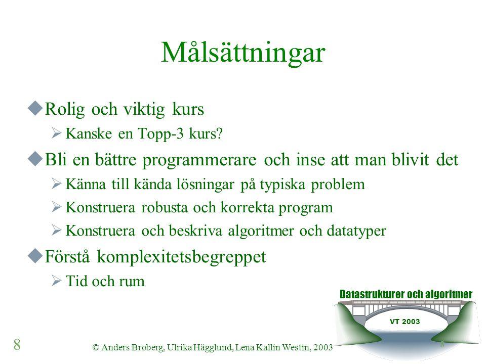 Datastrukturer och algoritmer VT 2003 8 © Anders Broberg, Ulrika Hägglund, Lena Kallin Westin, 2003 8 Målsättningar  Rolig och viktig kurs  Kanske en Topp-3 kurs.