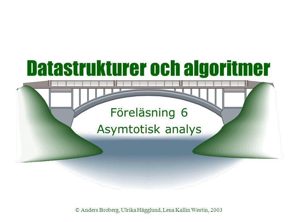 © Anders Broberg, Ulrika Hägglund, Lena Kallin Westin, 2003 Datastrukturer och algoritmer Föreläsning 6 Asymtotisk analys