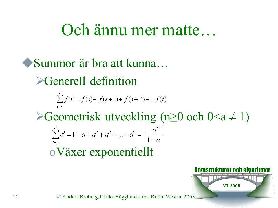 Datastrukturer och algoritmer VT 2005 © Anders Broberg, Ulrika Hägglund, Lena Kallin Westin, 200311 Och ännu mer matte…  Summor är bra att kunna…  Generell definition  Geometrisk utveckling (n≥0 och 0<a ≠ 1) oVäxer exponentiellt